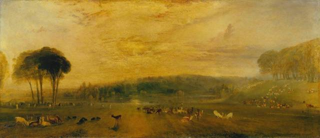 The Lake, Petworth: Sunset, Fighting Bucks circa 1829 by Joseph Mallord William Turner 1775-1851