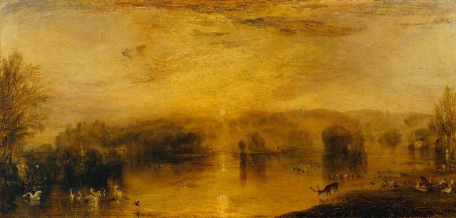 The Lake, Petworth: Sunset, a Stag Drinking circa 1829 by Joseph Mallord William Turner 1775-1851